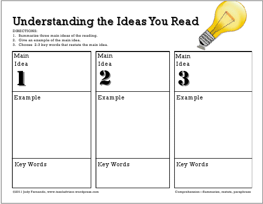 Graphic Organizer for overall reading comprehension Adventures – Main Idea Worksheets High School